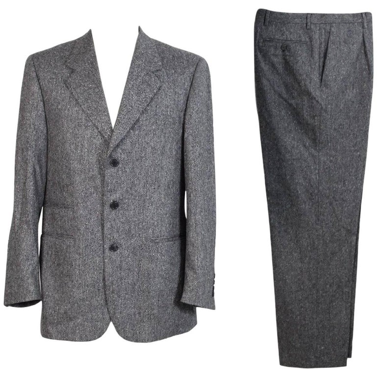 Roberto Capucci vintage wool tweed black white suit dress men's 1990s
