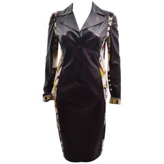 Emilio Pucci Brown Leather and Wool  Pucci Print Jacket and Skirt Suit