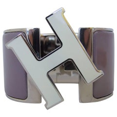 Hermes Clic Clac H Bracelet Cuff Purple Enamel White Enamelled H Extra Wide PM