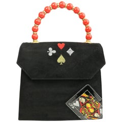 Beverly Feldman Black Suede/Patent with Red Handle Handbag