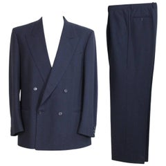 Valentino Double Breasted Complete Pinstripe Blue Wool Italian Pant Suit, 1990s