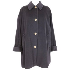Max Mara vintage blue cashmere soft coat size 40 it made italy 1980s