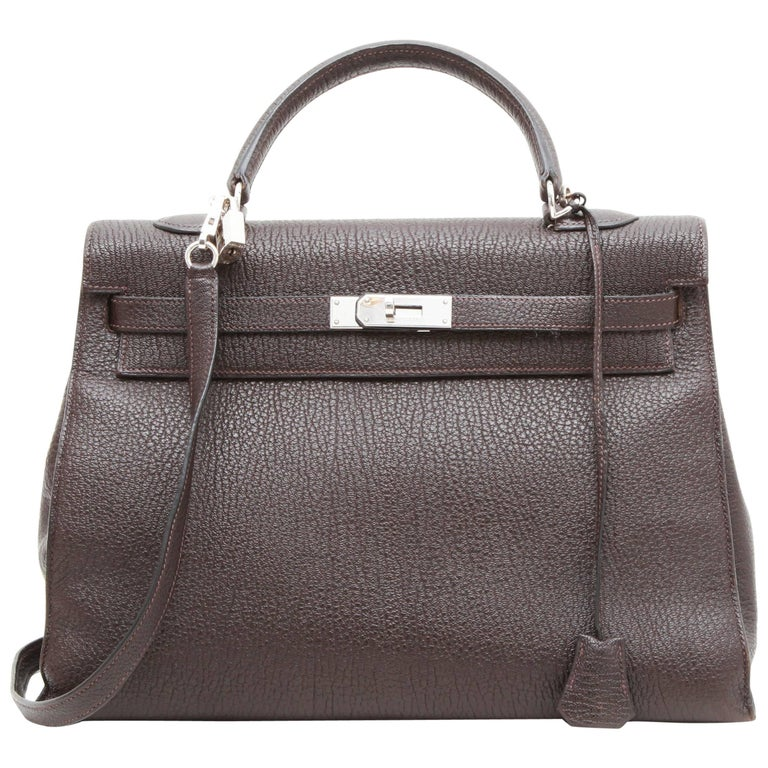 Hermes Kelly II 35 in Brown Grained Leather with Saddle Stitching
