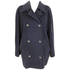 Max Mara vintage blue wool double breasted coat size 44 it made italy