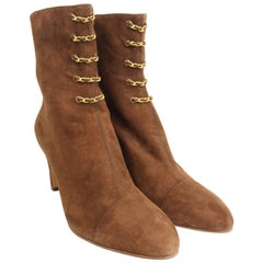 Chanel Brown Suede Gold Chain Panel Ankle Boots
