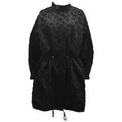 Phillip Lim Black Double Layer Parka Coat with Allover Textured Leopard Print