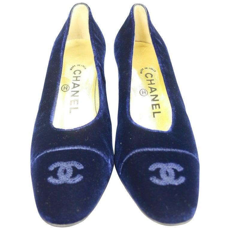 Chanel Dark Blue Velvet Pumps