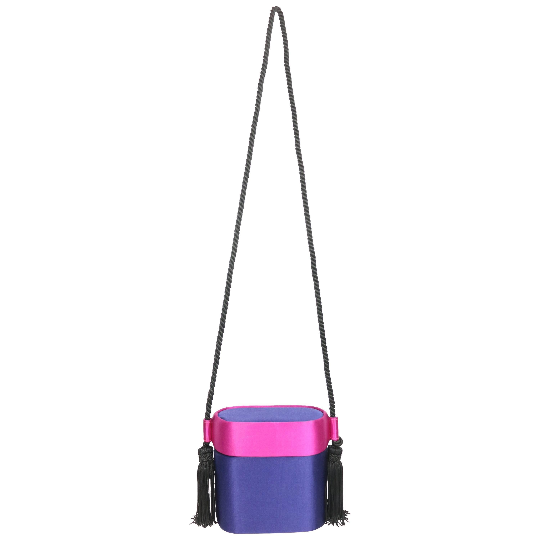 Vintage 80s Escada Blue and Pink Silk Box Tassel Clutches Shoulder Bag