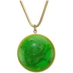 Mod Green Marbled Acrylic Pendant Necklace, circa 1970