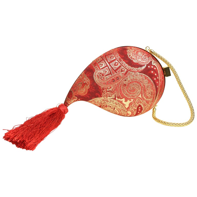 Philip Treacy Red and Gold Pattern Print with Tassel Clutches Handbag