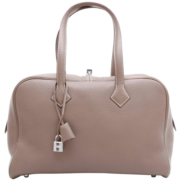 Hermes Victoria Bag in Etoupe Clémence Taurillon Leather and Saddle Stitching