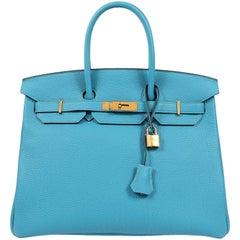 Hermes Turquoise Togo 35 cm Birkin Bag with GHW
