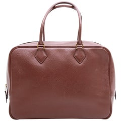 HERMES 'plume' Bag in Brown Grained Leather