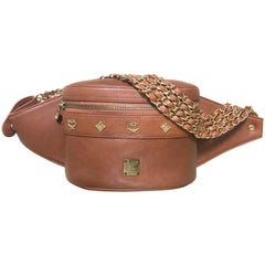 Vintage MCM brown fanny pack with multiple layer golden chain belt. Unisex purse