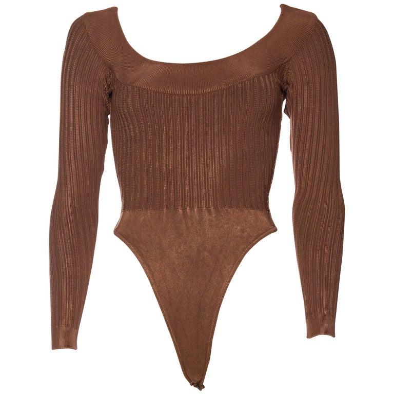 Alaia Dark Nude Body Suit For Sale