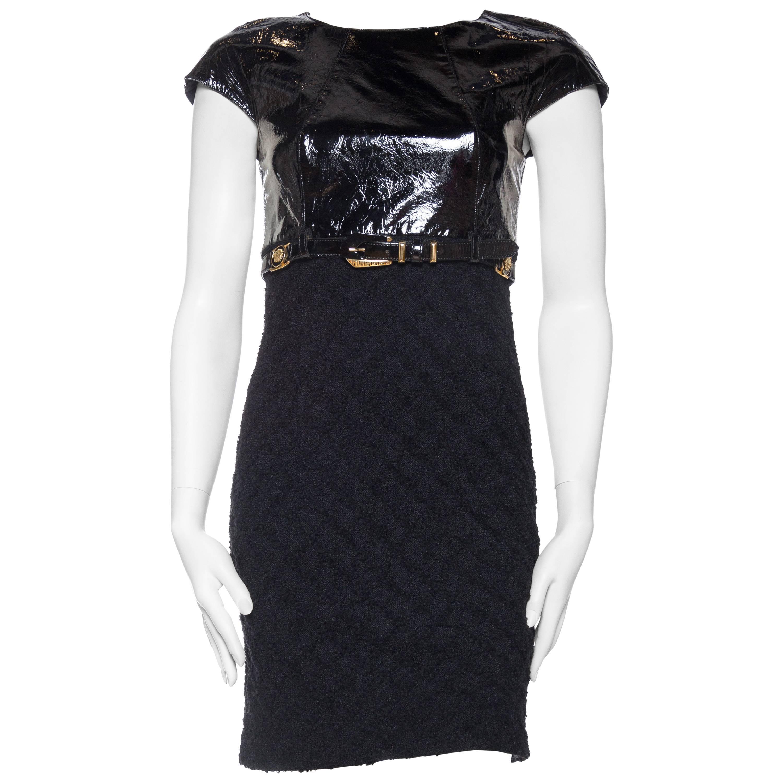 1990S GIANNI VERSACE Black Wool Boucle & Patent Leather Bias Cut Dress 1992 Bon