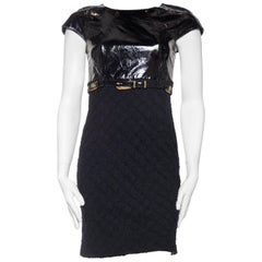 Versace Patent Leather and Bias Cut Wool Dress with Gold Medusa Belt, 1992