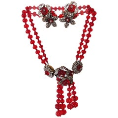 1940s Miriam Haskell Ruby Red Glass Bead, Rhinestone Necklace and Earring Set