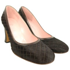 Chanel Brown Quilted Horse Hair with Leather Trim Pumps