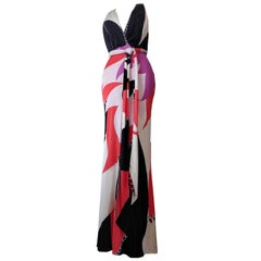 Emilio Pucci Silk Jersey Maxi Dress with Halter Neckline and Low-Cut Back