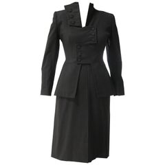 1940s Irene Black Wool Skirt Suit with Avant Garde Overlapping Closure