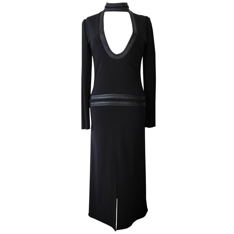 Tom Ford Chic Black Knit Dress with Leather Braid Choker