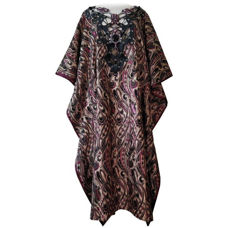 Custom-Made Paisley Print Lame Caftan with Leather Applique and Lacing