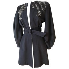 1940s Black Wool Fit and Flare Jacket w Teardrop Silver Studs and Balloon Sleeve