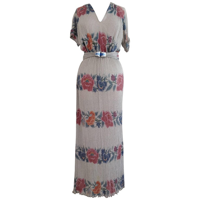 1970s Missoni Silver Lame and Floral Banded Rib-Knit Maxi Dress