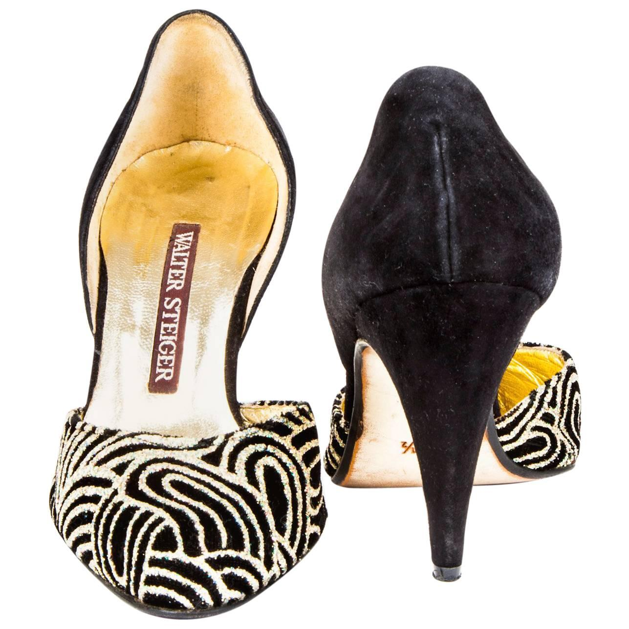 WALTER STEIGER Evening Pumps in Black Suede with Embroideries Size 37.5EU
