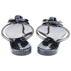 CHANEL Sandals in Black and Gray Plastic with Glitter Inclusions Size 40EU