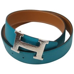 Hermes 32 mm Kilt Belt Buckle H Constance and Gold Bleu Paon 90 / Brand New