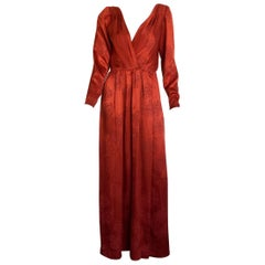 Yves Saint Laurent red silk long sleeve maxi dress