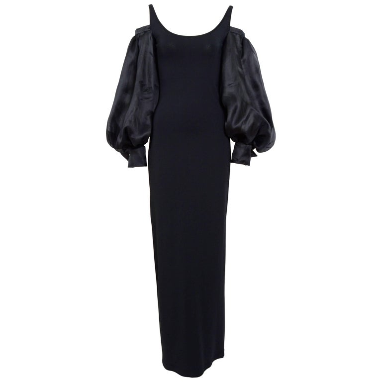 Christian Dior by Gianfranco Ferre 1994 black dress and billowing sleeves