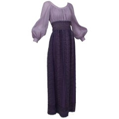 Medieval Purple Bishop Sleeve Crochet Maxi Dress, 1970s