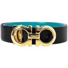 Salvatore Ferragamo Black & Turquoise Logo Buckle Reversible Belt Sz Small