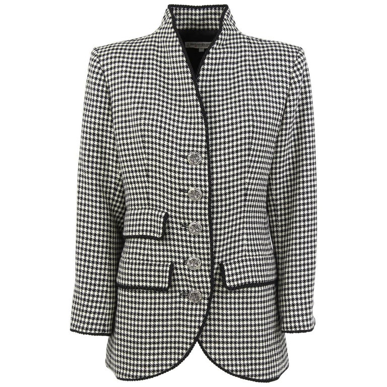 1990s Yves Saint Laurent Black and White Wool Jacket