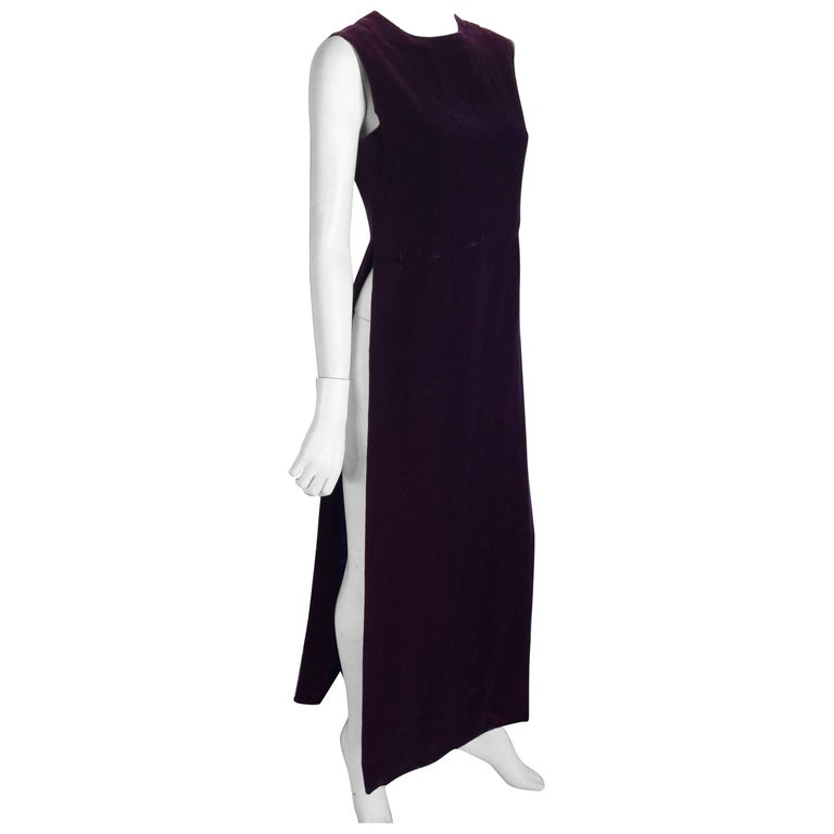 Pierre Cardin purple velvet side slit caftan