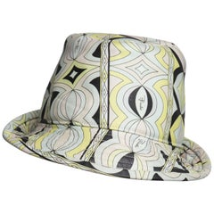 Emilio Pucci Sorbet Colors Printed Leather Fedora Hat