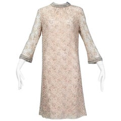 Nude Beaded A-Line Babydoll Dress with Pearl Collar and Cuffs, 1960s