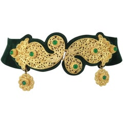 1970's Judith Leiber Gold Filigree Mughal Style Emerald Green Belt