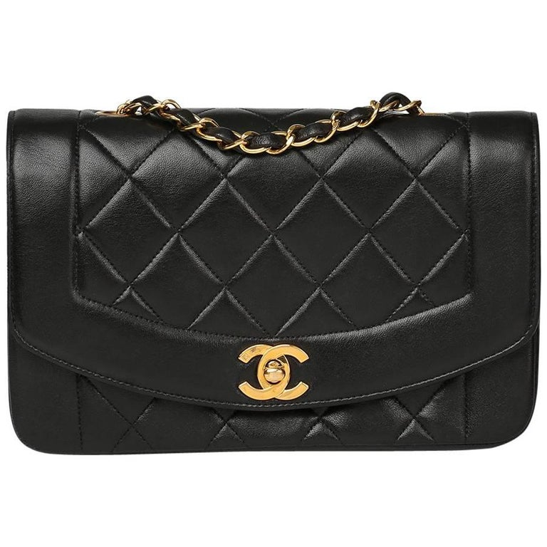 1990s Chanel Black Quilted Lambskin Vintage Small Diana Classic Single Flap Bag For Sale