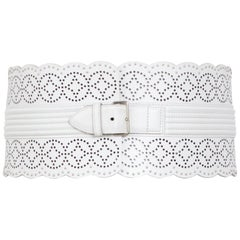 Alaia Vintage White Laser Cut Detailing Leather And Small Metal Studs Belt