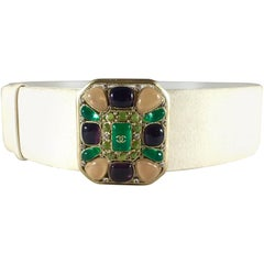 Chanel White Suede Belt With Purple Peach and Green Gripoix Jewel Buckle, Sz 38
