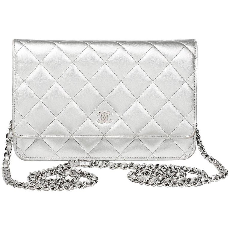 330ec76e31f4 Chanel Silver Quilted Metallic Lambskin Wallet-On-Chain WOC, 2011 For Sale