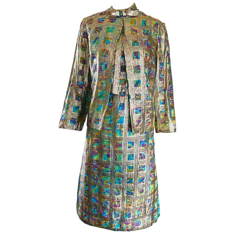 1960s Mardi Gras Gold Silk Lame Colorful Shift Dress and Jacket ...