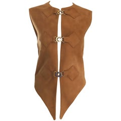 1960s Pierre Cardin Tan Suede Leather Space Age Vintage Avant Garde Vest