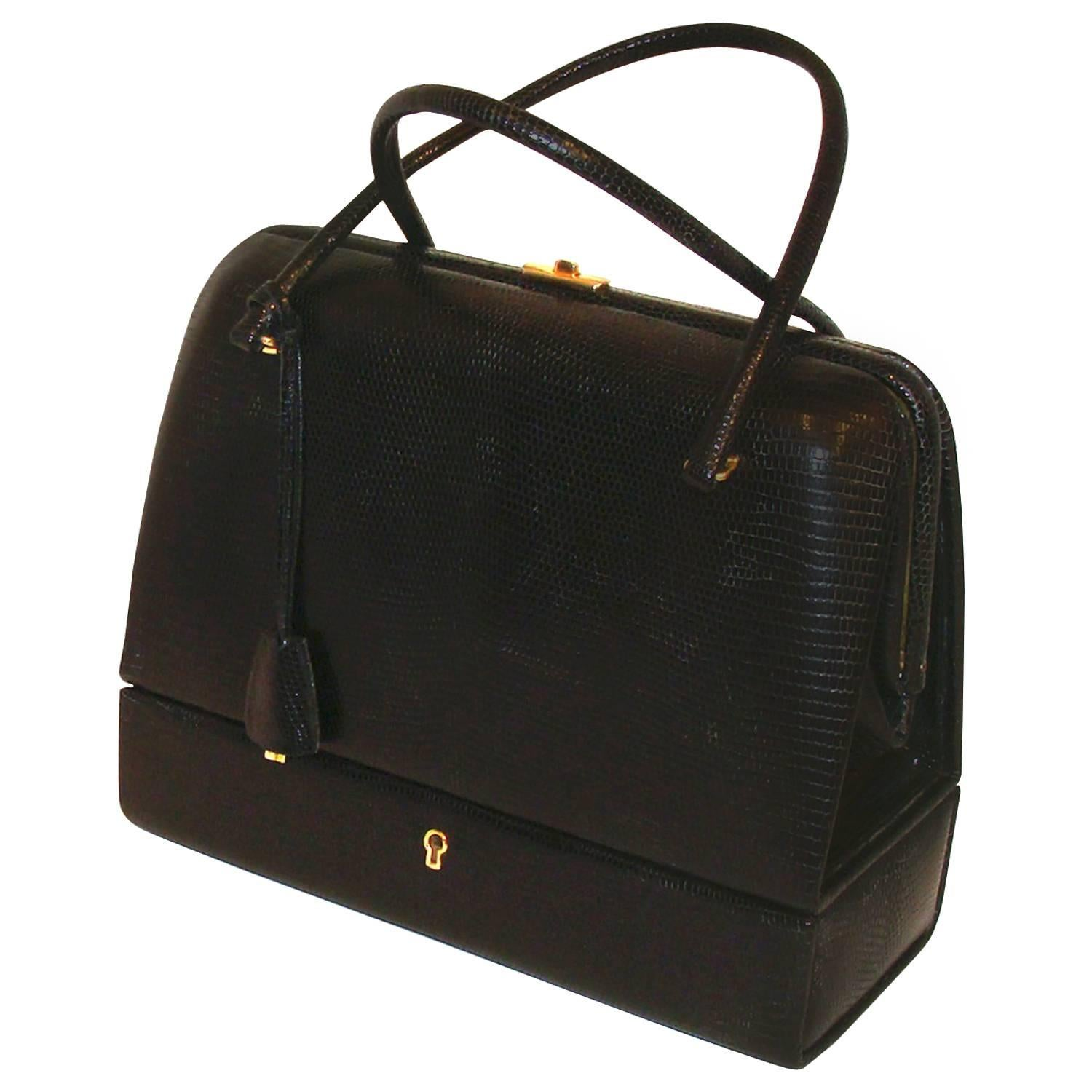 1stdibs Exquisite Black Lizard Bag With Jewelry Case (sac Mallette) With Key YVo6ImDUo