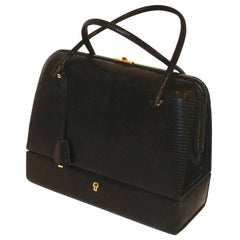 Exquisite Black Lizard Bag with Jewelry Case (Sac Mallette) with Key