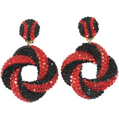 Richard Kerr Red and Black Dangle Statement Earrings, 1980s